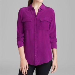 EQUIPMENT Signature Silk Blouse Violet Purple W30